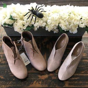 Pair of taupe/tan booties size 8.5/9